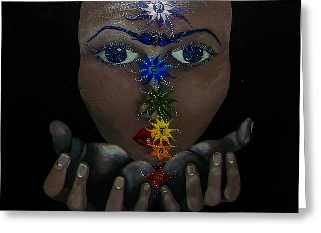 Chakra Rainbow Greeting Cards - Chakra Goddess Greeting Card by TheArtist Simran