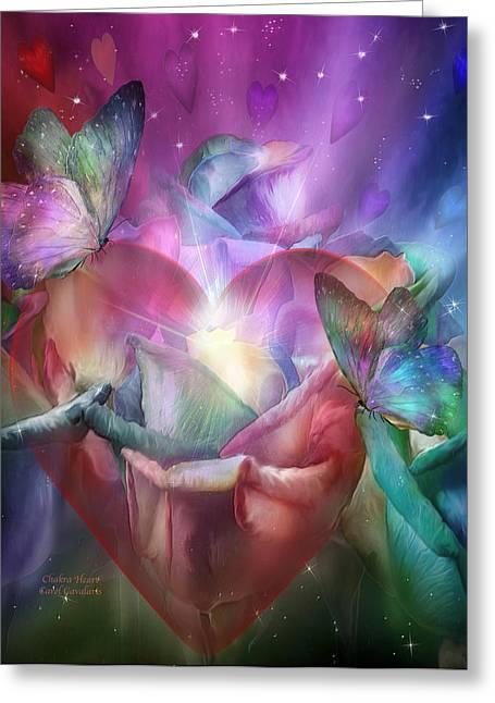 Chakra Heart Greeting Card by Carol Cavalaris