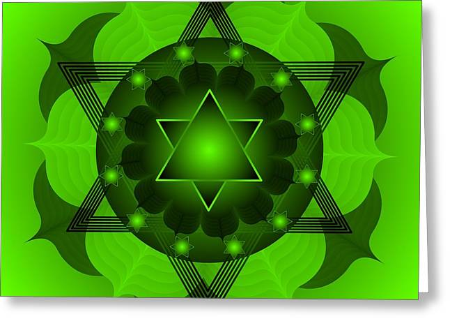 Chakra Rainbow Digital Greeting Cards - Chakra Mandala  Anahata 4th Chakra Greeting Card by Sarah  Niebank