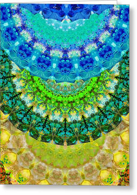 Chanting Greeting Cards - Chakra Mandala Healing Art by Sharon Cummings Greeting Card by Sharon Cummings