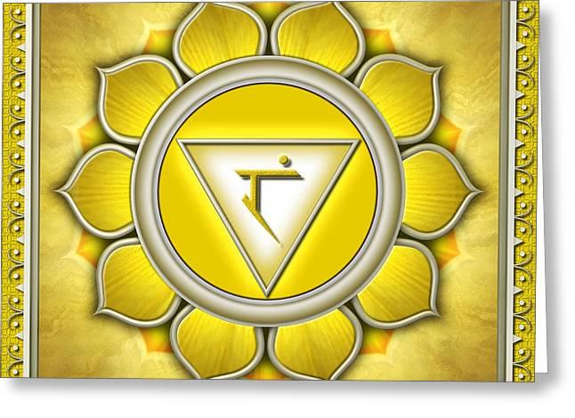 Yellow Chakra Greeting Cards - Chakra Manipura Series 2011 Greeting Card by Dirk Czarnota