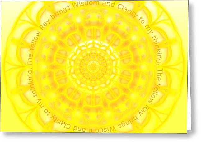 Chakra Rainbow Digital Art Greeting Cards - Chakra Manipura Solar Chakra Greeting Card by Sarah  Niebank