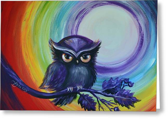 Chakra Rainbow Greeting Cards - Chakra Meditation with Owl Greeting Card by Agata Lindquist
