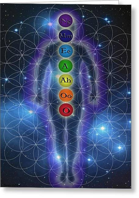 Indigo Chakra Greeting Cards - Chakra SOunds Greeting Card by Sarah  Niebank