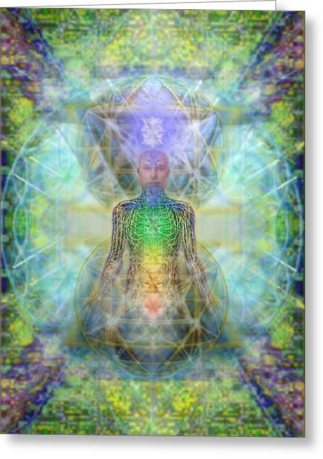 Chakra Tree Anatomy In Chalice Garden Greeting Card by Christopher Pringer