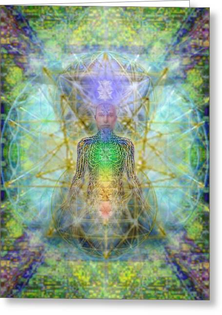 Chakra Tree Anatomy With Mercaba In Chalice Garden Greeting Card by Christopher Pringer