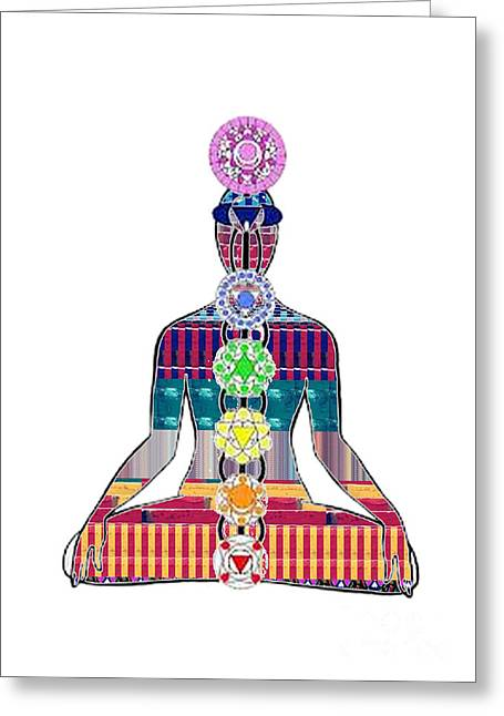 Tv Commercial Greeting Cards - Chakra Yoga Mandala  buy FAA print products or down load for self printing Navin Joshi Rights Manage Greeting Card by Navin Joshi