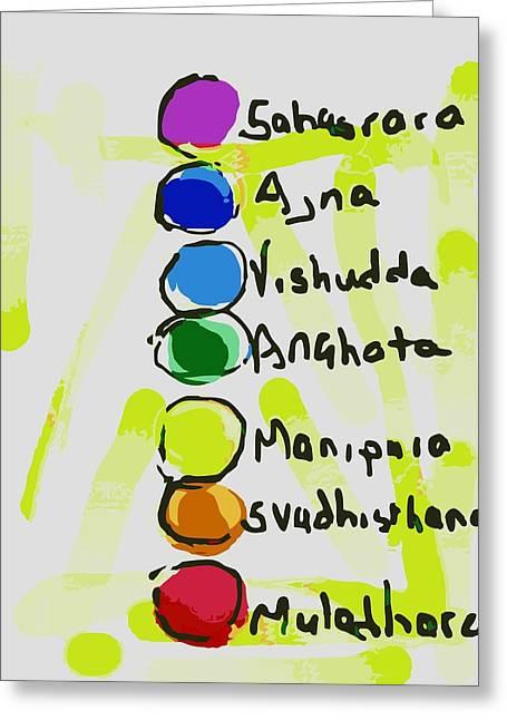 Chakra Rainbow Greeting Cards - Chakras Greeting Card by Sarah  Niebank