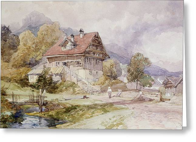 Alps Greeting Cards - Chalet, Brunnen, Lake Lucerne Greeting Card by James Duffield Harding