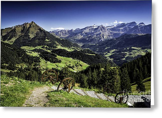 Snow Capped Greeting Cards - Chalet Restaurant des Fers View   Greeting Card by Timothy Hacker
