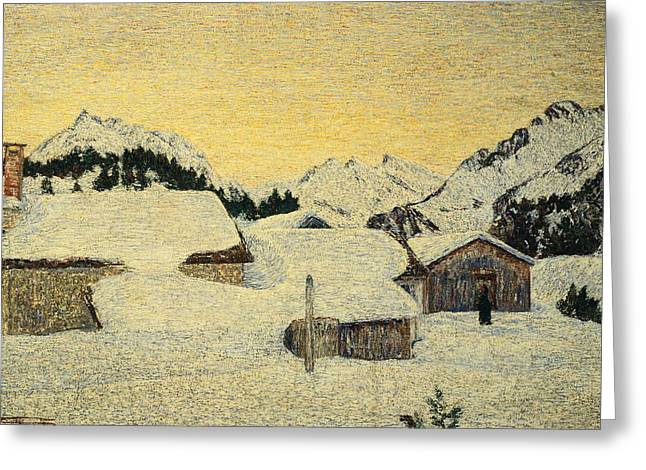 Chalet Greeting Cards - Chalets in Snow Greeting Card by Giovanni Segantini