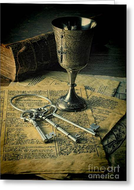 Goblet Greeting Cards - Chalice and Keys Greeting Card by Jill Battaglia