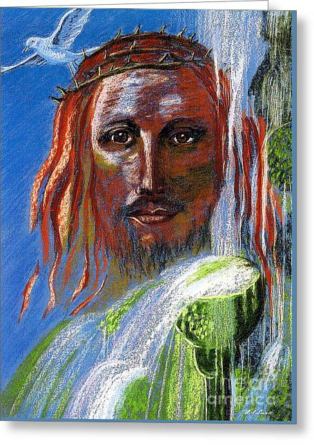 Jesus Christ Paintings Greeting Cards - Chalice of Life Greeting Card by Jane Small