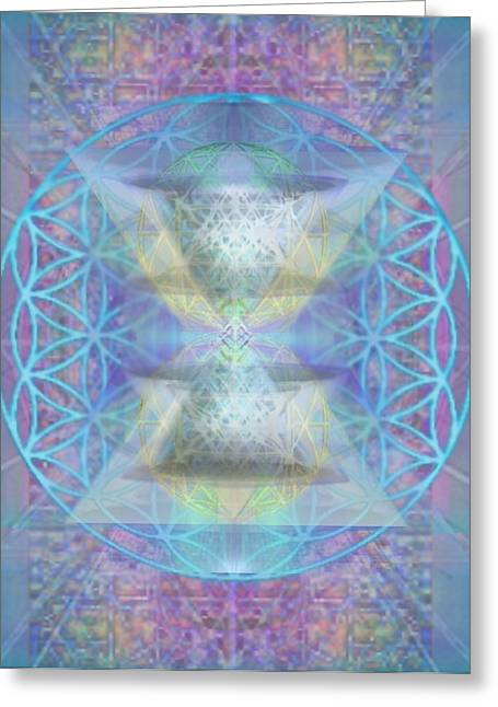 Chalicespheres And Flower Of Life Latticework Greeting Card by Christopher Pringer