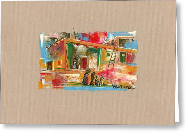 Adobe Drawings Greeting Cards - Chalk Adobe Greeting Card by Ben De Soto