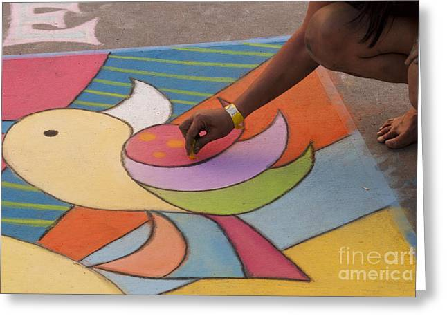 Denver Artist Greeting Cards - Chalk Artist Greeting Card by Juli Scalzi