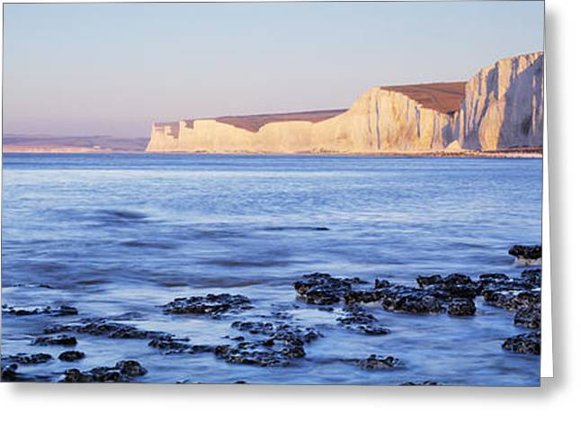 Chalk Cliffs At Seaside, Seven Sisters Greeting Card by Panoramic Images