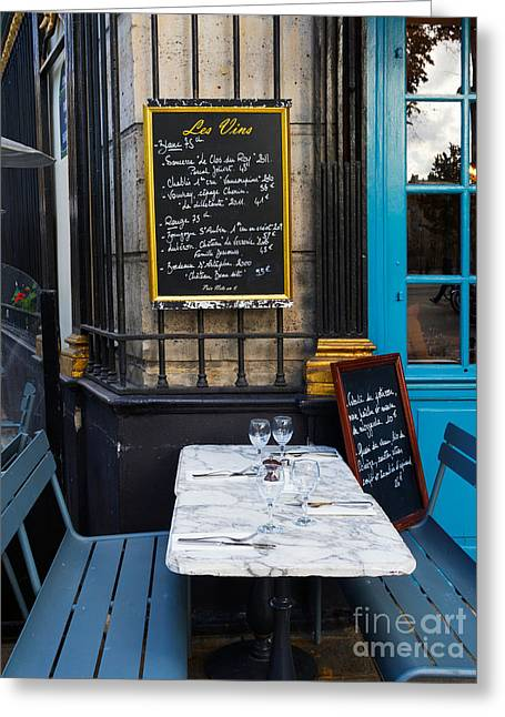 Best Sellers -  - Menu Greeting Cards - Chalkboard at an outdoor cafe in Paris Greeting Card by Louise Heusinkveld