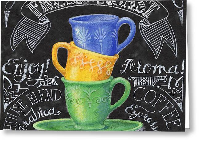 Barista Greeting Cards - Chalkboard Coffee I Greeting Card by Paul Brent