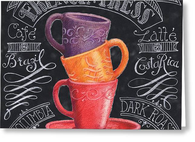 Barista Greeting Cards - Chalkboard Coffee II Greeting Card by Paul Brent
