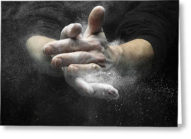 Sweating Photographs Greeting Cards - Chalked hands, high-speed photograph Greeting Card by Science Photo Library