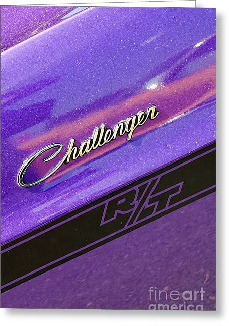 Mopar Greeting Cards - Challenger Rt badging Greeting Card by Mark Spearman