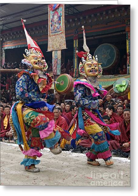 Kham Greeting Cards - Cham Dances - Kham Tibet Greeting Card by Craig Lovell