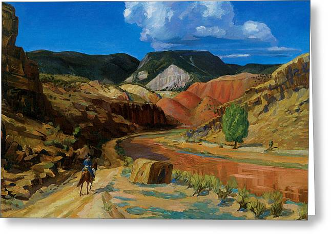 Chama River Greeting Cards - Chama Running Red Greeting Card by John Sloan