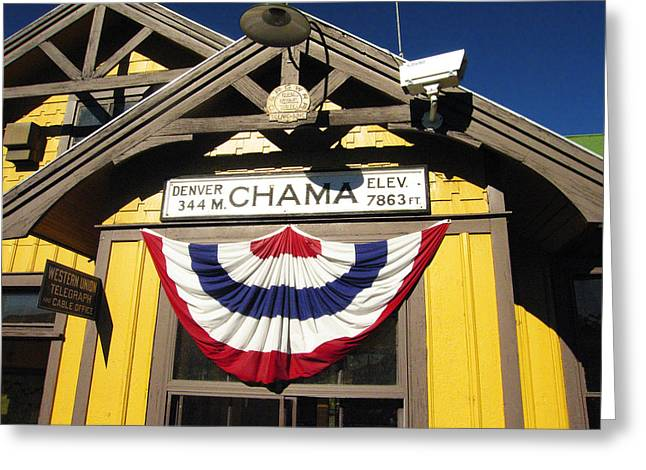 Southwestern Greeting Cards - Chama Train Station Greeting Card by Kurt Van Wagner