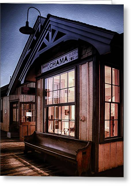 Wooden Platform Greeting Cards - Chama Train Station Greeting Card by Priscilla Burgers
