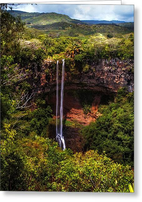 Chamarel Waterfall 1. Mauritius Greeting Card by Jenny Rainbow