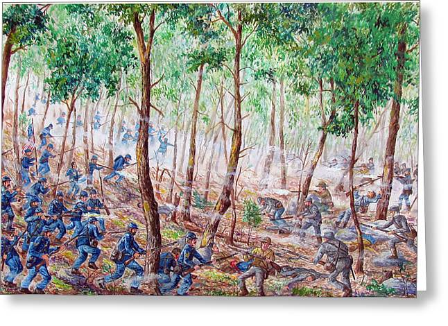 Bayonet Paintings Greeting Cards - Chamberlains Charge Greeting Card by Philip Lee