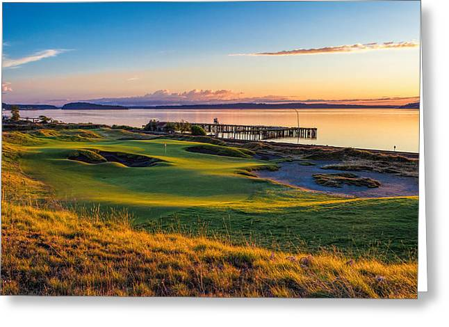 Us Open Greeting Cards - #17 at Chambers Bay Golf Course Greeting Card by Mike Centioli