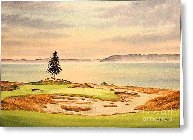 Chambers Bay Golf Course Greeting Cards - Chambers Bay Golf Course Hole 15 Greeting Card by Bill Holkham