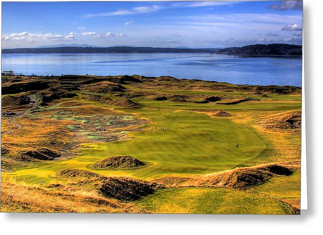Us Open Greeting Cards - Chambers Bay Golf Course II Greeting Card by David Patterson
