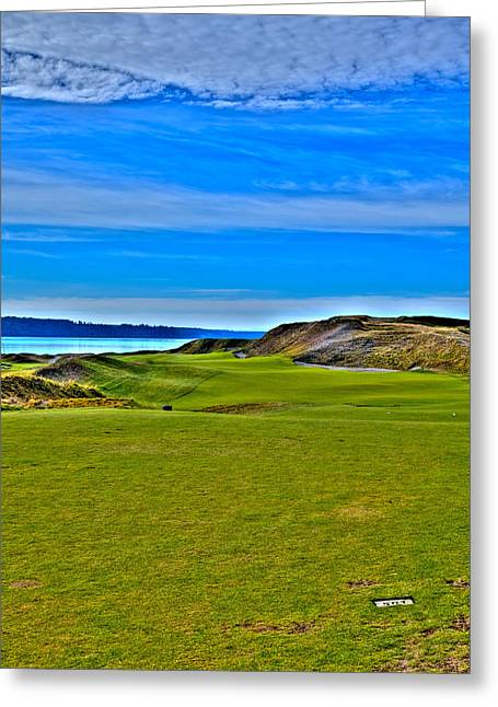 University Place Greeting Cards - Chambers Bay - Hole #1 Greeting Card by David Patterson