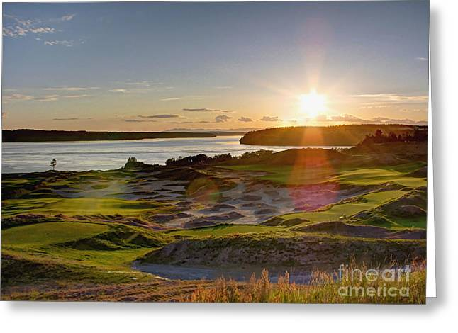 Chris Anderson Photography Greeting Cards - Chambers Bay Sun Flare - 2015 U.S. Open  Greeting Card by Chris Anderson