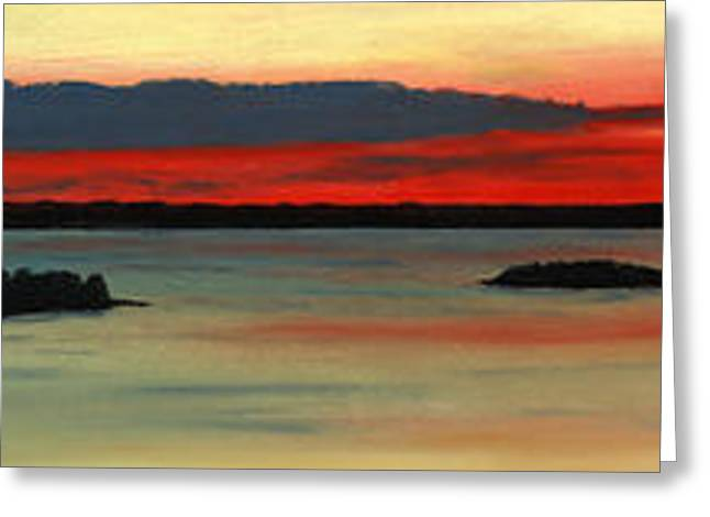 Chicago Pastels Greeting Cards - Chambers Island Sunset II Greeting Card by George Burr