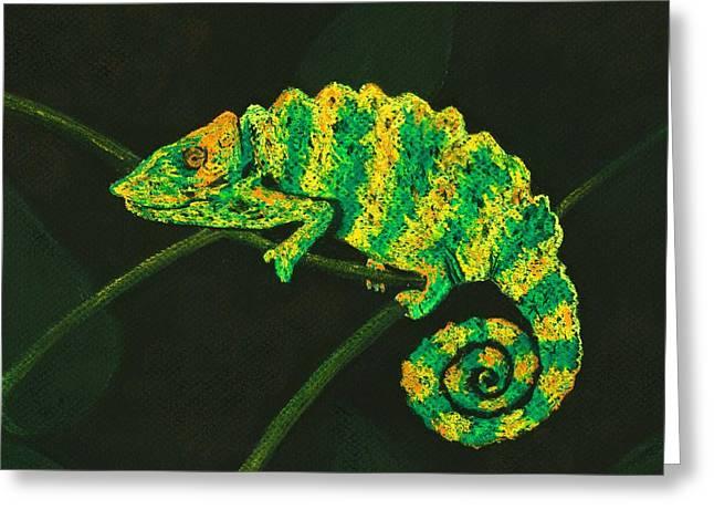 Dragon Greeting Cards - Chameleon Greeting Card by Anastasiya Malakhova