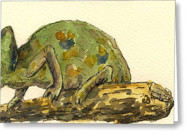 Lizard Greeting Cards - Chameleon Greeting Card by Juan  Bosco