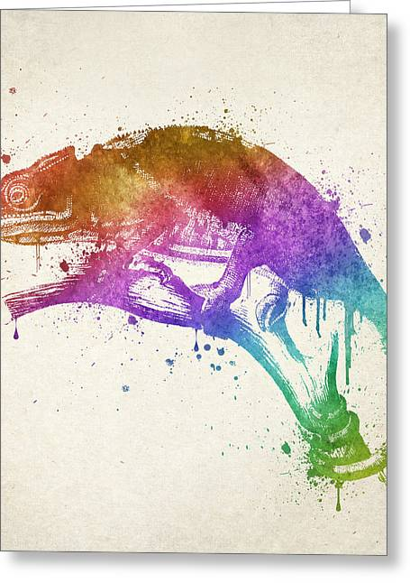 Bathroom Art Greeting Cards - Chameleon Splash Greeting Card by Aged Pixel