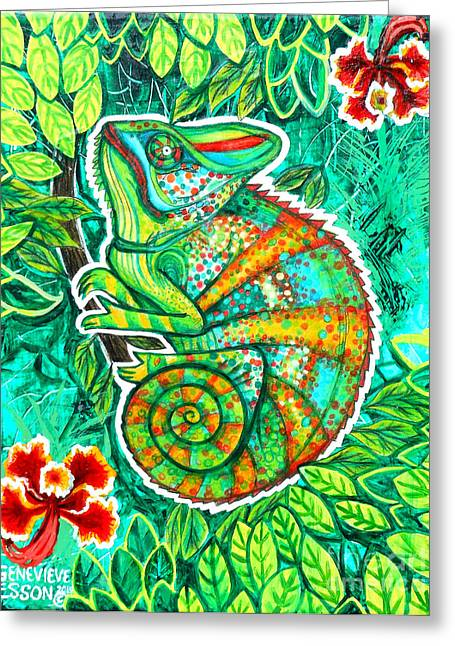 Stretching Drawings Greeting Cards - Chameleon With Orchids Greeting Card by Genevieve Esson