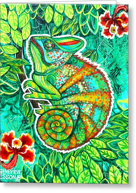 Plant Stretched Canvas Greeting Cards - Chameleon With Orchids Greeting Card by Genevieve Esson