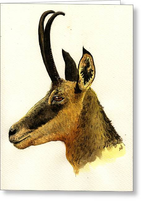 Howling Greeting Cards - Chamois deer Greeting Card by Juan  Bosco