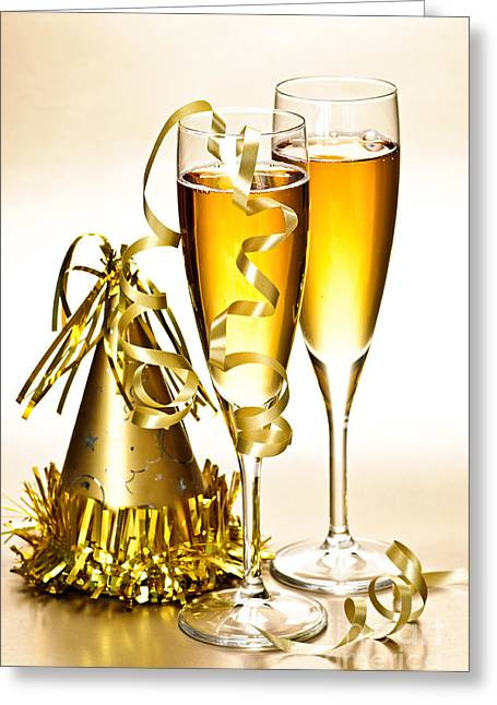 Champagne Glasses Greeting Cards - Champagne and New Years party decorations Greeting Card by Elena Elisseeva