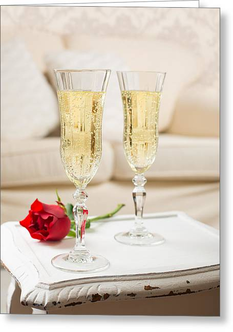 Bubbly Greeting Cards - Champagne And Rose Greeting Card by Amanda And Christopher Elwell