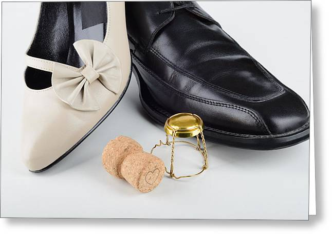 Footwear Love Greeting Cards - Champagne and Shoes for Saint Valentine Greeting Card by Alain De Maximy