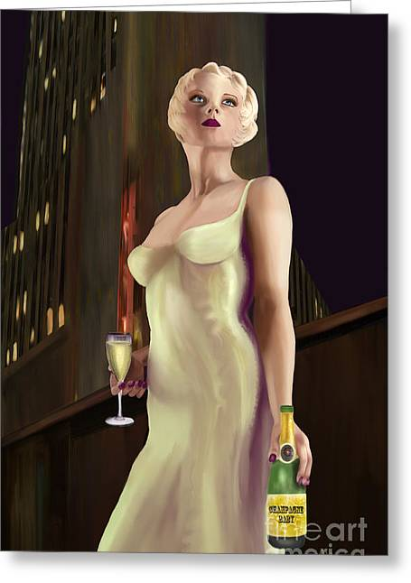 Champagne Glasses Greeting Cards - Champagne Baby Greeting Card by Sydne Archambault