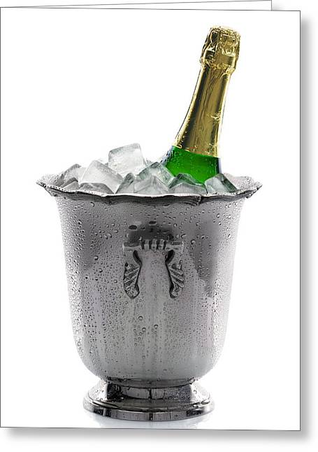 Water Drop Greeting Cards - Champagne bottle on ice Greeting Card by Johan Swanepoel