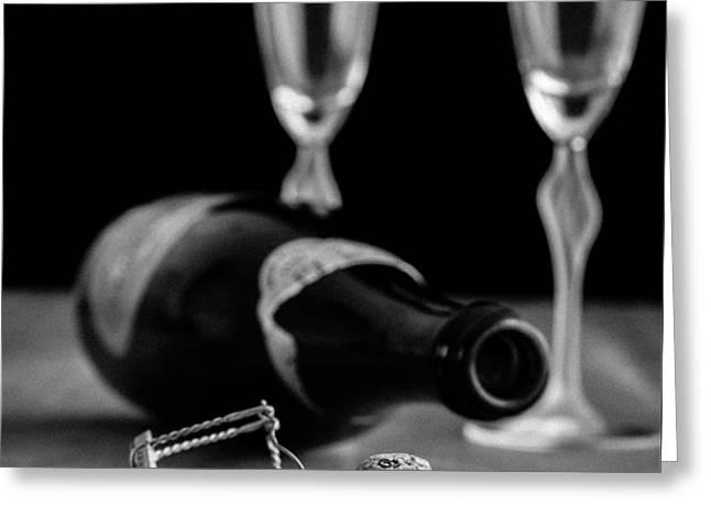 Champagne Bottle Still Life Greeting Card by Edward Fielding
